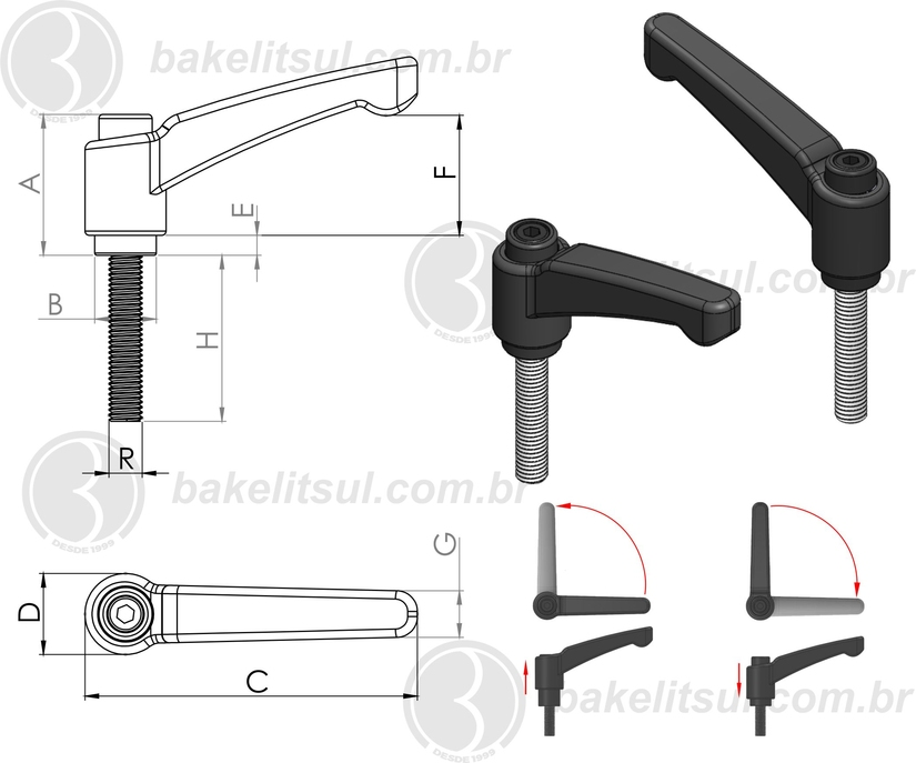 alavanca trava--empuñaduras graduables y de palanca -manillas graduables -clamping levers -adjustable handles