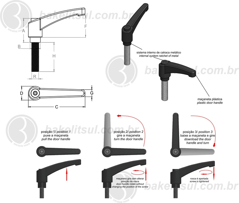 alavanca trava rosca interna, Manillas graduables tecnopolimero, Adjustable handles technopolymer, ERX.