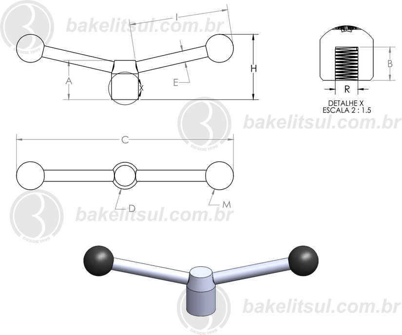 alavanca trava rosca interna, Volantes con dos brazos, Two-arm handwheels, VBR.2