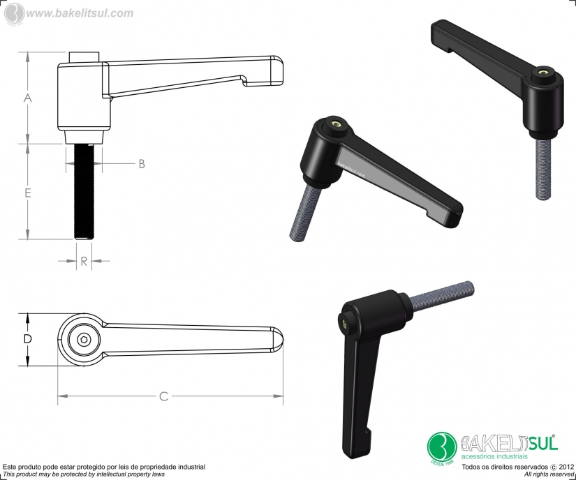 alavanca trava, -empuñaduras graduables y de palanca -manillas graduables -clamping levers -adjustable handles